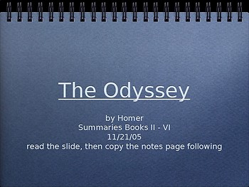Powerpoint summaries for Books 2-6 of The Odyssey