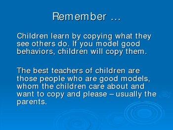 Powerpoint to help Parents with proper discipline techniques