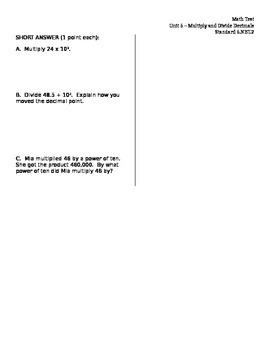 Powers & Exponents 5.NBT.2 ASSESSMENT