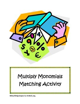 Powers Exponents Monomials Matching Activity