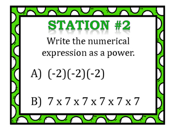 Powers & Exponents Stations (Positive/Negative Numbers)