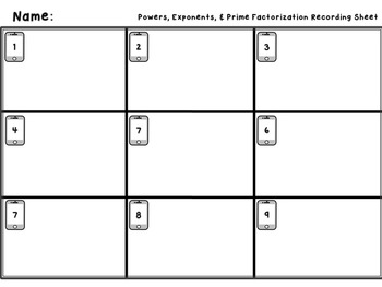 Powers, Exponents, and Prime Factorization