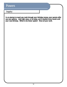 Powers Inquiry Question and Worksheet