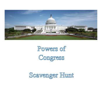 Powers Of Congress Scavenger Hunt