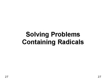 Powers & Roots 04: Solving Problems Containing Radicals