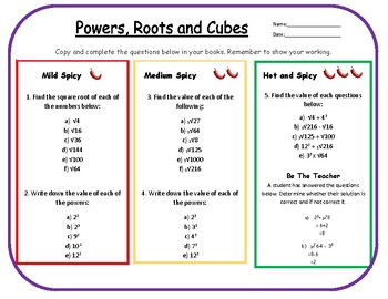 Powers, Roots and Cubes Differentiated Worksheet