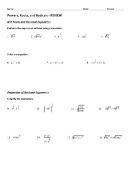 Powers, Roots, and Radicals Review Worksheet