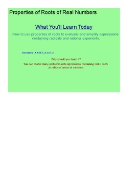 Powers, Roots, and Radicals SmartBoard Lesson