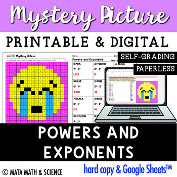 Powers and Exponents: Solve + Color Mystery Picture (Emoji)