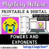 Powers and Exponents: Math Mystery Picture - Distance Learning