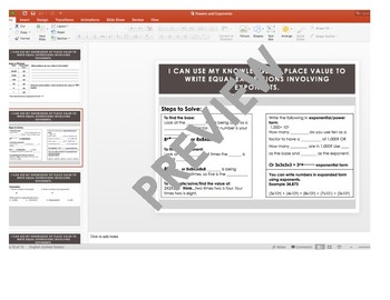 Powers and Exponents Guided Note with PowerPoint