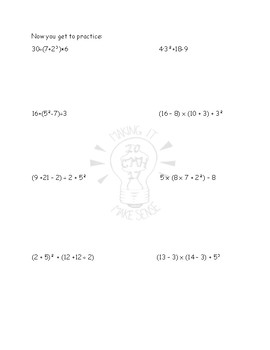 Powers and Exponents, Order of Operations Math Notebook
