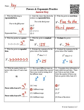Powers and Exponents Practice