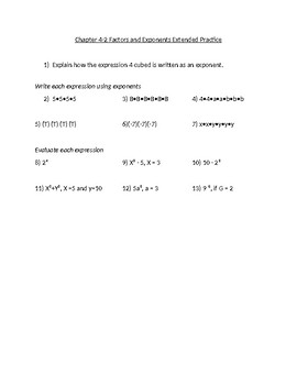 Powers and Exponents Practice Problems