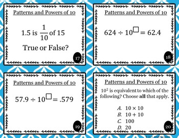 Powers and Patterns of 10 Task Cards / Scoot Cards - 5.NBT.A.2
