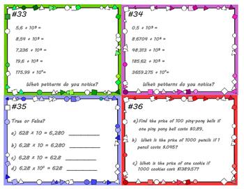 Powers of 10 & Decimals Task Cards 5.NBT.A.1 & 5.NBT.A.2
