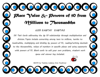 Powers of 10 & Decimals Task Cards