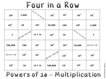 Powers of 10 - Multiplication - Four in a Row - QR Codes