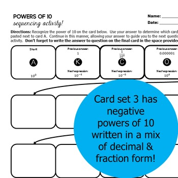 Powers of 10 Sequencing Activity - 3 Versions Included!