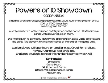 Powers of 10 Showdown CCSS: 4.NBT.A.1  Game for Practicing Powers of 10