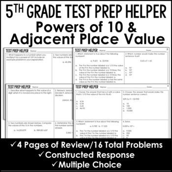 Powers of 10 and Adjacent Place Value Problems  {Common Core Test Prep Helper}