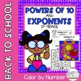 Powers of 10 and Exponents 5th Grade: Color by Number-Back to School Theme