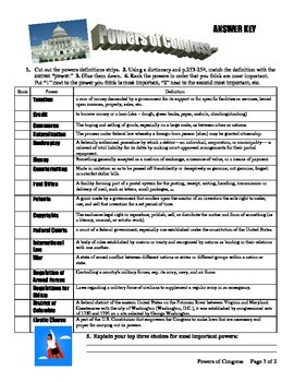 Powers of Congress Activity - CUT AND GLUE, constitution,vocabulary,legislature