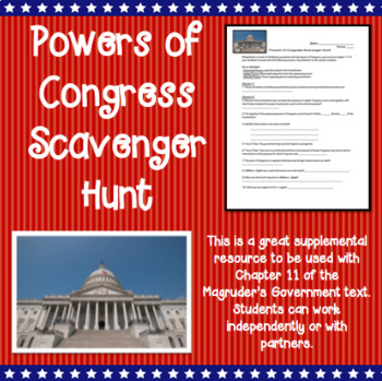 Powers of Congress Scavenger Hunt- Use with Magruders Text