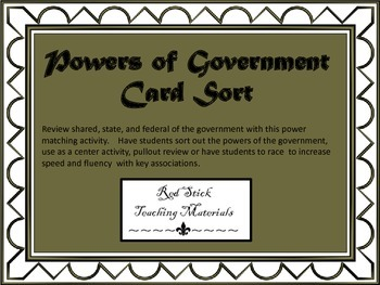 Powers of Government Card Sort and Interactive Notebook Activity