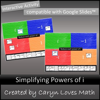 Powers of I~Exponents Imaginary Numbers~Google Drive Activity~