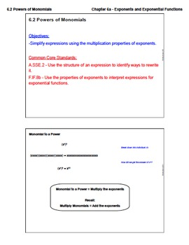 Powers of Monomials (Lesson Plan with Homework)