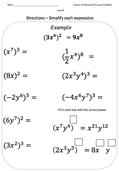 Powers of Monomials (Practice Problems Crafted For Every Learner)