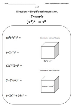 how to solve monomials math – whynotnow club additionally  besides Multiplying and Dividing Monomials Worksheet Inspirational 40glencoe as well monomial ex le problems – fcijabalpur as well Powers Of Monomials Worksheet For Kids   Free Educations Kids besides Alge 1 Worksheets   Exponents Worksheets together with Powers of Monomials  Practice Problems Crafted For Every Learner moreover  furthermore Monomials Geometric Applications   YouTube together with Simplifying Monomials Calculator Math Simplifying Calculator together with monomials worksheet – mikkospace also simplifying monomials worksheet – efectofamilia org together with Multiplying monomials by polynomials  video    Khan Academy as well  furthermore Best Images Of Ohms Law Practice Worksheets Problems further . on powers of monomials worksheet answers