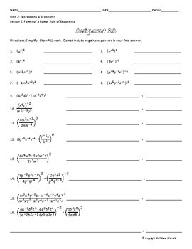 Powers of Monomials with the Power Rule Guided Notes & Assignment