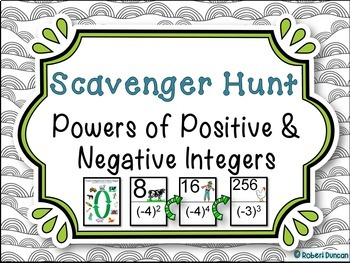 Powers of Positive and Negative Integers Scavenger hunt