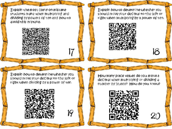 Powers of Ten Task Cards 5th Grade Math Common Core 5.NBT.2 {QR Codes & Key}