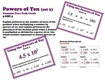 Powers of Ten Common Core 5.NBT.3 Task Cards (set 2)