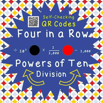 Powers of Ten - Division - Four in a Row - QR Codes