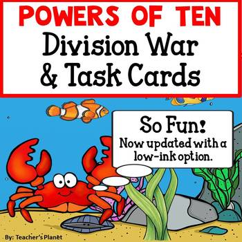 Powers of Ten Division War and Task Cards! 5.NBT.2