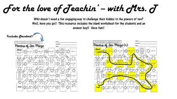 Powers of Ten Maze Worksheet