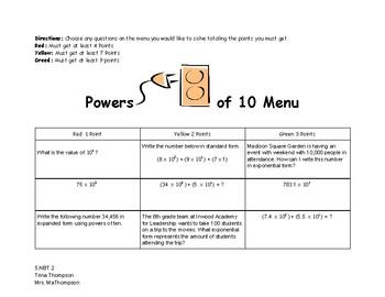 Powers of Ten Menu