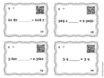 Powers of Ten - Multiplication and Division - Four in a Row - QR Codes