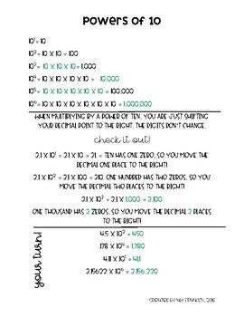 Powers of Ten/ Multiplying Decimals Note Page Freebie