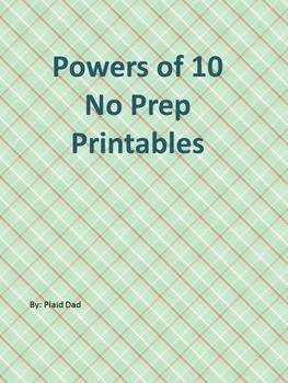 Powers of Ten No Prep Printables