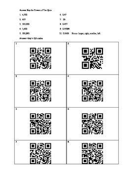 Powers of Ten Quiz with QR Code Answer Key Included