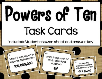 Powers of Ten Task Cards