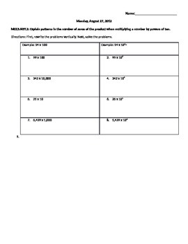 Powers of Ten worksheet
