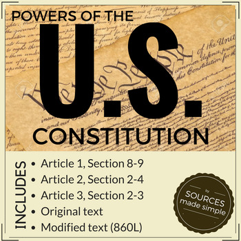 Powers of the Constitution 860L
