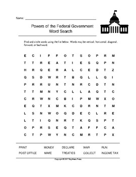 Powers of the Federal Government Word Search (Grades 3-5)
