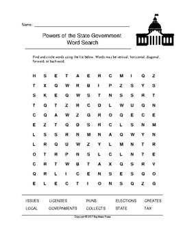 Powers of the State Government Word Search (Grades 3-5)